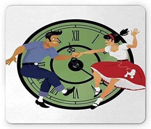 Rock and Roll Mouse Pad, Jonge Paar Dansen in de jaren 50 Mode Klok Gezicht op de achtergrond, Rechthoek Rubber Mousepad, Multi kleuren