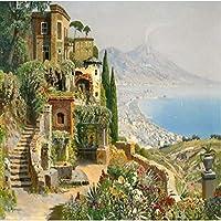 Ljjlm カスタム大フレスコ画ヨーロッパスタイル地中海スタイルHd油絵背景壁壁紙Papel De Parede-200X150Cm