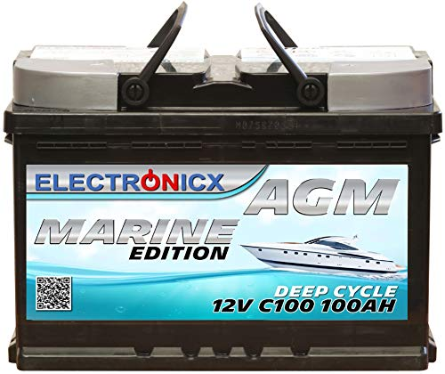 Electronicx Bateria solar AGM 12v 100ah MARINE EDITION Barcos Barca Caravana Autocaravana Bateria solar