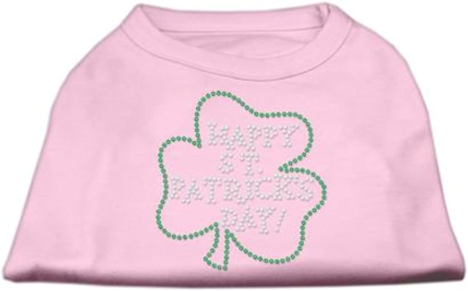 Mirage Pet Products Happy St. Patrick's Day Rhinestone Pet Shirt, Large, Light Pink