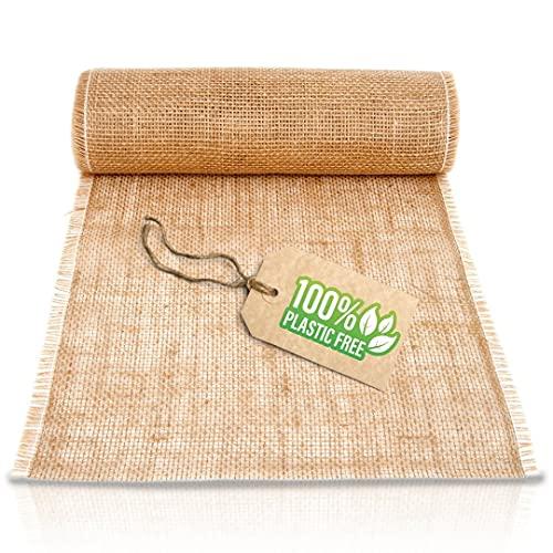 HappyNaps Camino de mesa de tela arpillera - Decoración mesa vintage - Caminos de mesa de yute natural - Rollo 10m x 30cm - Doble costura reforzada anti desgaste - Incluye libro electrónico con ideas
