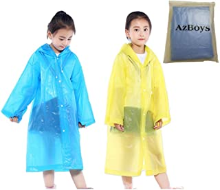 AzBoys Children Rain Ponchos,Waterproof Rain Poncho for Kids,Portable Reusable Raincoat for Boys and Girls Ages 6-12,for School,Camping,Emergency