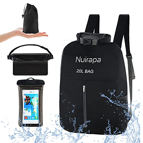 Nuirapa Waterproof Dry Bag Lightweight 20L Dry Storage Bag Backpack with Phone Case Waist Pouch Set...