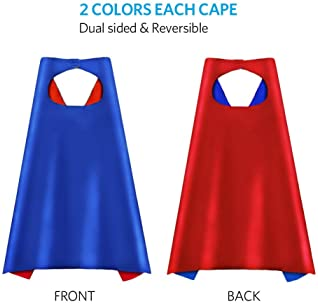 Aimike Superhero Capes, Party Dress Up Cape, Reversible Dual Color for Kids - Pack of 8