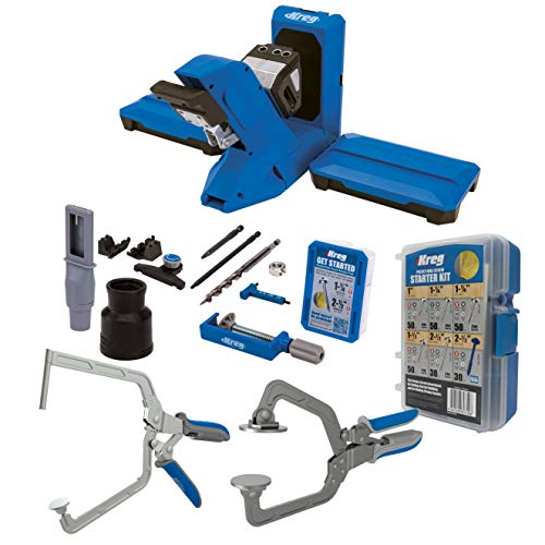Kreg Pocket-Hole Jig 720PRO with the KHC3 Face Frame Clamp KHCRA Right Angle Clamp and the SK04 Starter Pocket Hole Screw Kit