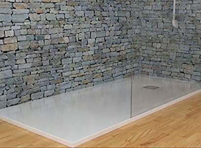 MASAL TECH DESING - Plato de ducha, textura PIZARRA CEMENTO 75x170 cm, antideslizante y de fácil colocación.