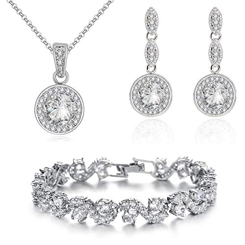Jewelry Sets for Women - Premium Wedding Jewelry Sets - Bridal Jewelry Set with Necklace and Earring for Bride - Cubic Zirconia Bridesmaid Jewelry - Cocktail Party Formal Events Costume Jewelry