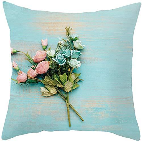 KnBoB Funda Almohada Poliéster Flor Tablero 40 x 40 cm Azul Estilo 10