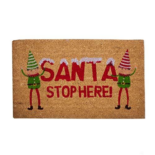 Felpudo de fibra de coco Santa Stop Here, Duende de Navidad con respaldo de goma