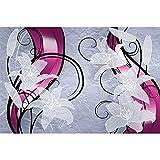 GREAT ART® Mural De Pared – Gráfico De Lirios Blancos – Obra De Arte Flores Art Deco Abstracto Floral Naturaleza Ilustración Foto Papel Pintado Y Tapiz Y Decoración (210 x 140 cm)