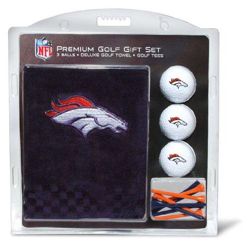 Team Golf NFL Denver Broncos Geschenkset Besticktes Golf-Handtuch, 3 Golfbälle und 14 Golf-Tees 6,5 cm Regulierung, dreifach gefaltetes Handtuch 40,6 x 55,9 cm und 100 % Baumwolle