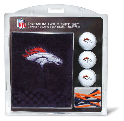 Team Golf NFL Denver Broncos Gift Set Embroidered Golf Towel, 3 Golf Balls, and 14 Golf Tees 2-3/4