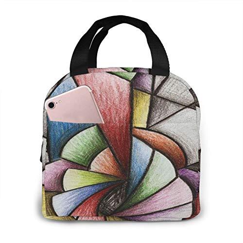 OMQFEW Lunchtasche Lunchbag für Damen/Kinder, Kühltasche Lunch Tasche Picknicktasche Isoliertasche Thermotasche Zur Arbeit Schule Picknick Pastellmusik Gitarren Kubismus