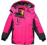 Wantdo Mädchen Berg Ski Jacke Warmer Winter Fleece Mantel Wasserdichter Atmungsaktive Regenmantel Outdoor Kapuzen Jacken Rosenrot 152-158