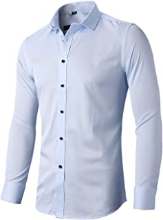 INFLATION Men's Dress Shirts Slim Fit Long Sleeve Bamboo Casual Formal Shirt Button Down Work Shirts Men