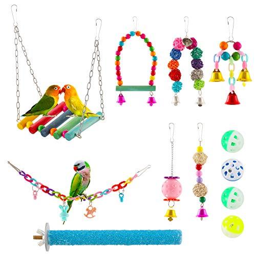 E-More 12 Stück Bunten Vogelspielzeug, Stehende Sitzstangen Vogel Papagei Schaukel Spielzeug mit Glocken, Handgemacht Vogelkäfig Spielzeug für Liebesvögel Finken Papageien Sittiche Nymphensittiche