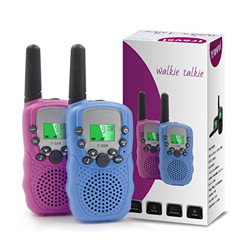 Comgoo Kids Toy Walkie Talkies - Outdoor Toys for Age 3-8 Boys Girls, 3KM Call Range with 2Way Radio & LCD Flashlight Indoor Outside Camping Hiking Toy for Toddler 3 4 5 6 Year Old Child Best Gift.