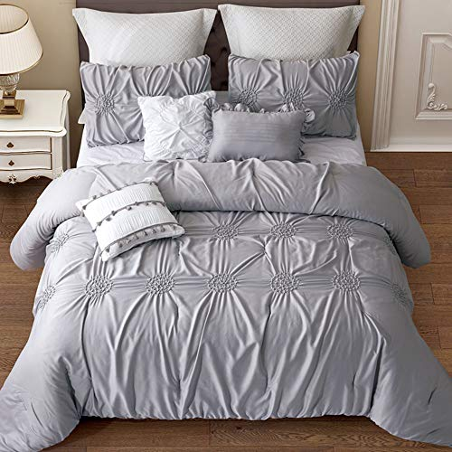 Alicemall Graceful Gray Comforter Set with Pillowcases and Throw Pillow Covers 6 Pieces Silk Like Microfiber Polyester Hypoallergenic Bedding Set, King Size (King, 6 pcs Quilt Set)