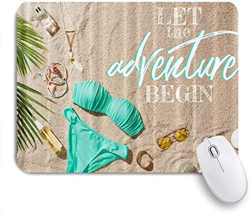 Gaming Mouse Pad Rutschfeste Gummibasis, lassen Sie das Abenteuer beginnen Blue Bikini mit verschiedenen und Sandy Beach Adventure Sand, für Computer Laptop Office Desk
