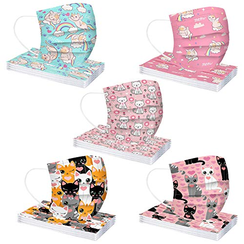 50 Pcs/Pack Kids Disposable Face_Masks with Cute Decorative Cartoon Kitties Prints, Premium 3-Ply Nonwoven and Meltblown Fabric with Comfortable Earloops for Boys Girls Essential Protection…