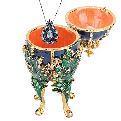 Joyero, pintado a mano enredaderas de coral esmaltado Faberge huevo collar de metal anillo sostenedor de la joyería con diamantes de imitación brillantes para regalo de decoración del hogar