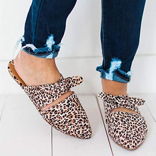 LXYYBFBD Sandalen Voor Vrouwen, Sandalen Voor Vrouwen Schoenen Lage Hakken Schoenen Dames Plus Size Sandalen Luipaard Print Mode Slipper Boog Punt teen Suede Schoenen