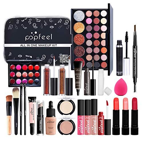 ruixin 27 Stück Professionelles Make-Up-Set - Enthält Make-Up-Pinsel Augenbrauenstift Mascara Lipgloss Lippenstift Usw. - Tragbare...