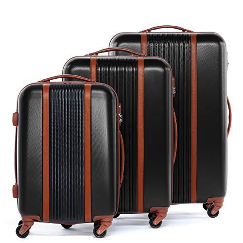 FERGÉ Kofferset Hartschale 3-teilig Milano Trolley-Set mit Handgepäck 55 cm 3er Set Hartschalenkoffer Roll-Koffer 4 Rollen schwarz