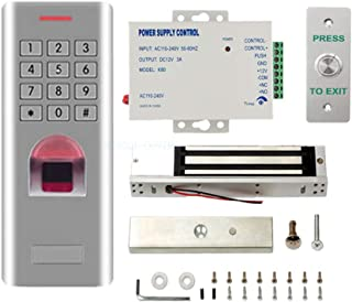 Outdoor Install Weather Proof Fingerprint Password Access Control 600Lbs Magnetic Lock Power Supply Waterproof Metal Exit Button