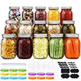 15 Pcs Regular Mouth 16 Oz Mason Jars with Lids and Bands, Colored Plastic Jar Lids, Blank Labels and Chalk Marker, Leak-Proof Airtight Lids for Food Storage, Canning, Favors, Decorating Jar