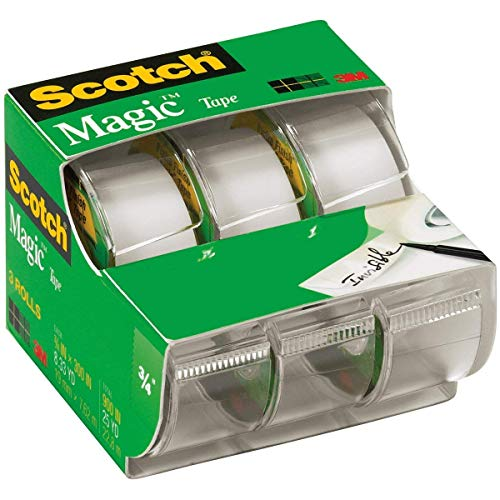 Scotch Brand Learning Resources MMM3105 Scotch Magic Tape 3/4 Inch X 300 Inches 3 ea, Translucent (55)