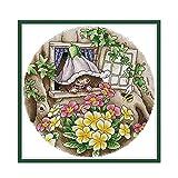 YEESAM ART Kits de punto de cruz sellados para adultos principiantes, flor de abeja 11 ct 43 × 43 cm Kit de costura de bordado DIY con patrones preimpresos fáciles divertidos de Navidad (7 unidades)