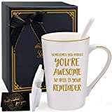 Inspirational Gifts for Women, Sometimes You Forget You're Awesome, Thank You Gift for Mom, Daughter, Sister, Aunt, Coworker - Coffee Mugs with Lid and Spoon 14oz