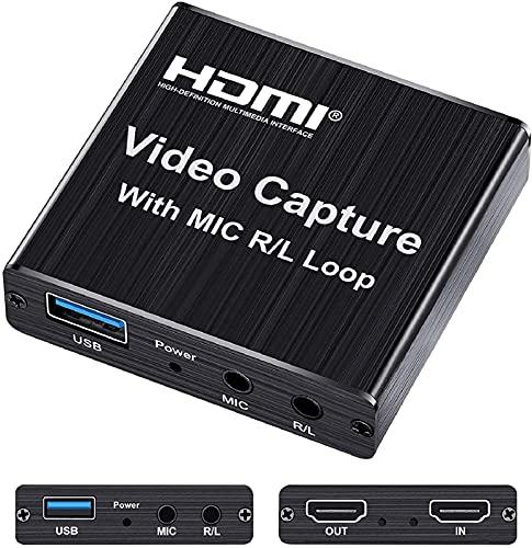 RILLATEK Audio Audio Tarjeta DE Captura, 1080P 60FPS USB Grabar Video HDMI a la Tarjeta de Captura USB con Loop out para Juegos, transmisión, enseñanza, videoconferencia, transmisión en Vivo