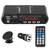 XRONG Bluetooth Car Kit, Bluetooth 4.2 Hands-Free Audio Calling and LED Digital Display, Music Player Support TF Card USB Flash Drive FM Radio AUX Input(Built-in Microphone, IR Remote Control)