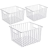 iPEGTOP Freezer Storage Organizer Basket, Wire Food Organizers Basket, Household Bin Basket with Handles for Kitchen Cabinets, Pantry,Freezer, Bathroom, Closets, Set of 3