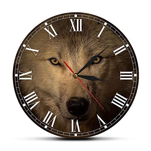 Wandklokken voor kinderkamer Grijze Wolf Decoratieve Wandklok Spirituele dierlijke muur Art Home Decor Wildlife Wolf Hoofd Woonkamer Stille Beweging Wandhorloge Scandinavische Stijl Ontwerp Modern Creatief en Elegant