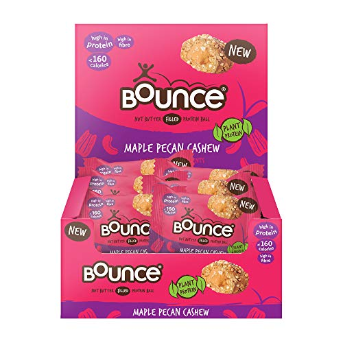 Bounce Plant Protein Maple Pecan & Cashew Balls, Filled With A Nut Butter Centre, 12 x 35g Individual Vegan Protein Balls