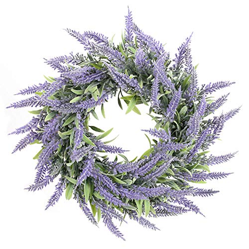 HO2NLE Artificial Lavender Wreaths 14' Fake Lavender Wreath Flowers Arrangements Spring Wreath for Front Door Wall Indoor Outdoor Home Wedding Decor