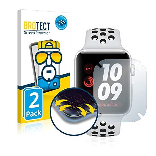 BROTECT Protector Pantalla Completa Compatible con Apple Watch Nike Plus Series 3 (38 mm) (2 Unidades) 3D Curvo