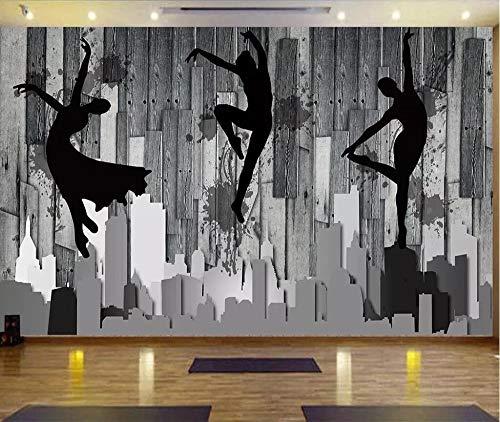 Papel pintado personalizado mural nostálgico madera danza estudio ballet yoga estudio herramientas papel de pared decoración para el hogar papel de parede 250cm×175cm