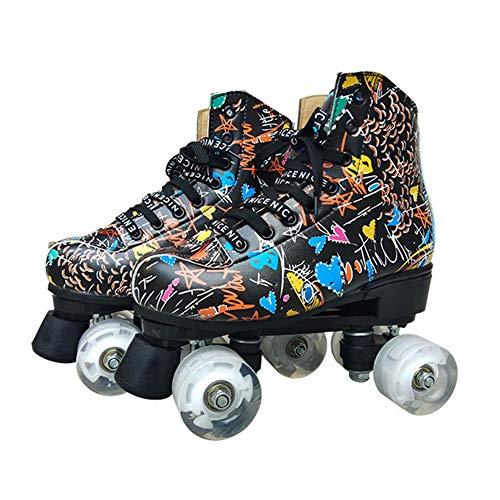 LRZ Zweireihige Artistic Rollschuhe Verschleißfest PU Rollen Quad-Skates Sport Im Freien Training Skate Turnschuhe, Unisex,Schwarz,43