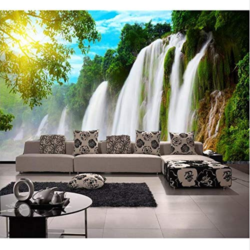 Guyuell Kundenspezifischer Wandtattoo Des Raumes 3D Wandvlies-Wandaufkleber-Wasserfall Großer Baum-Fotomalerei Fernsehhintergrund-Wand 3D Tapete-300Cmx210Cm