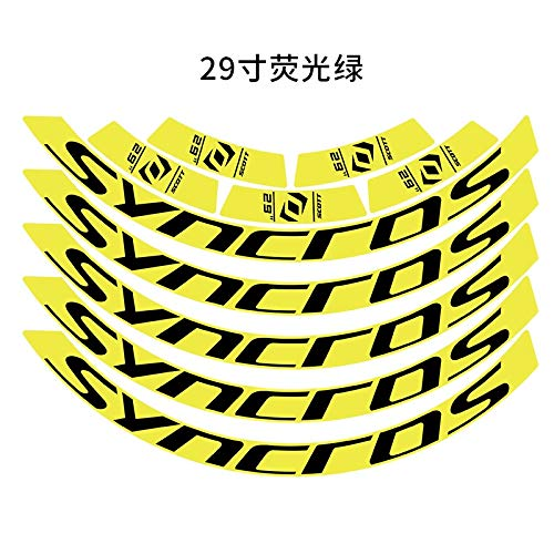 Mountain Bike Wheel Set Rim Sticker MTB Rim Decals Bicycle Decals 27.5inch And 29inch Bicycle Accessories Label decoration (Color : 29er flursct green)