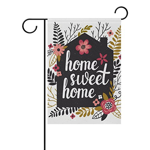 U LIFE Decorative Hello Welcome Sweet Home Floral Garden Yard Flag Banner for Outside House Flower Pot Double Side Print 40 x 28 & 12 x 18 Inch