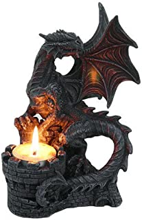 PTC 6.75 Inch Perching Dragon Hand Painted Resin Candle Holder, Black