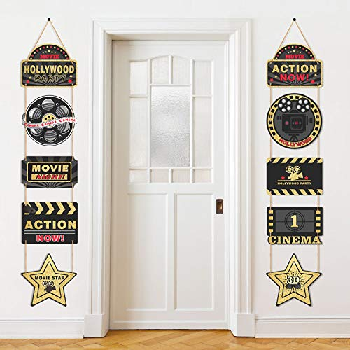 10 Pieces Hollywood Movie Theme Party Supplies Hanging Decorations, 1 Pair of Hollywood Movie Theme Black and Gold Hanging Sign Cards, Hollywood Movie Theme Party Banner