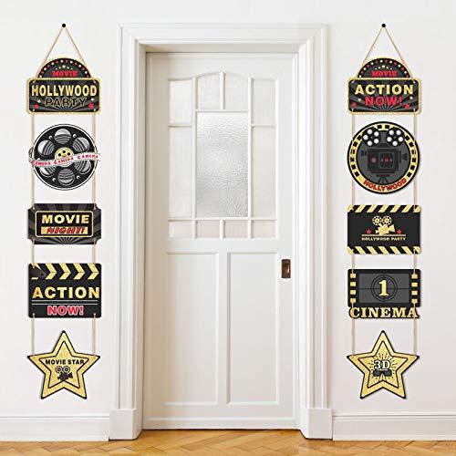 10 Stücke Hollywood Film Thema Party Lieferungen Hängende Dekorationen, 1 Paar Hollywood Film Thema Schwarz und Gold Hängende Zeichen Karten, Hollywood Film Thema Party Banner