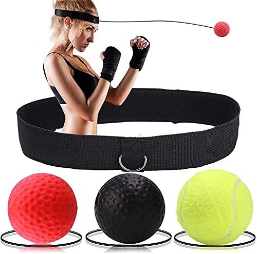 Bola de entrenamiento de boxeo de bola de reflejo de boxeo, entrenamiento de velocidad MMA adecuado para adultos / niños, 3 niveles de dificultad Boxeo de boxeo Ball, Ideal para reflejo, enfoque y ent