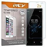 REY 2X Protector de Pantalla 3D para Sony Xperia XZ3, Transparente, Protección Completa, 3D / 4D / 5D